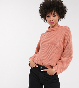 Monki high neck rib knit jumper in dusty pink