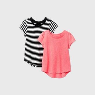 Cat & Jack Toddler Girls' 2pk Striped and Sparkle Short Sleeve T-Shirt - Cat & JackTM