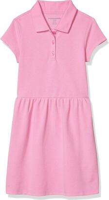 Amazon Essentials Girls' Short-sleeve Polo Dress Light Blue XS