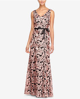 Alex Evenings Embroidered V-Neck Sash Gown