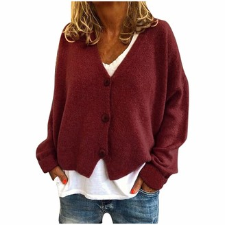 Lialbert Fashion Women Solid V Neck Buttons Cute Casual Stretchy Knitted Sweater Cardigan Coat Wine