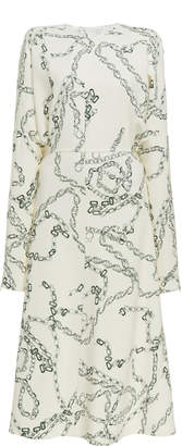 Victoria Beckham Printed Crepe Long Sleeve Midi Dress