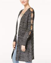 Oh!MG Juniors' Peekaboo-Sleeve Sweater Jacket
