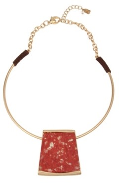 Robert Lee Morris Soho Geometric Jasper Stone Pendant Collar Necklace