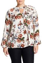 Blu Pepper Bell Sleeve Floral Blouse (Plus Size)