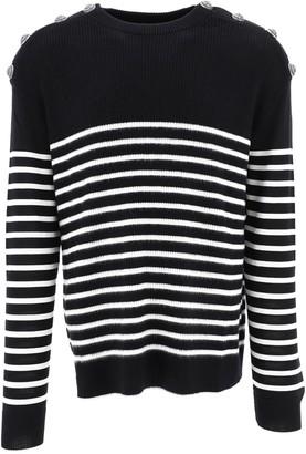 Balmain Striped Button Detail Sweater