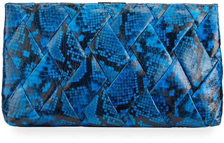 Nancy Gonzalez Woven Large Snakeskin Clutch Bag