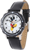 Disney Mickey Mouse Kids Black Leather Strap Watch