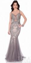 Terani Couture Sparkling Metallic Tulle Evening Dress