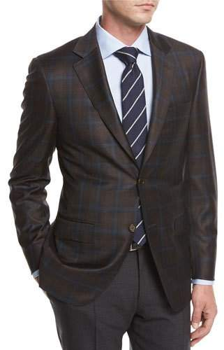 Canali Plaid Super 130s Wool Sport Coat, Brown