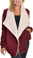 Angelina Women's Cardigans Burgundy - Burgundy Sherpa Wrap Open Cardigan - Women & Plus