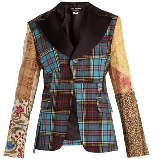 Junya Watanabe Tartan-checked contrast-sleeve wool-blend jacket