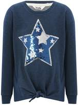 M&Co Two way sequin star tie front sweater