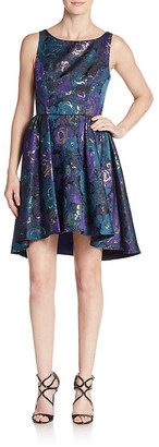 ABS by Allen Schwartz Floral Jacquard Cutout A-Line Dress