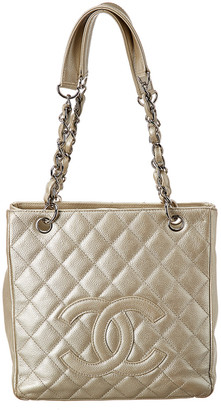 Chanel Gold Quilted Caviar Leather Petit Shopping Tote