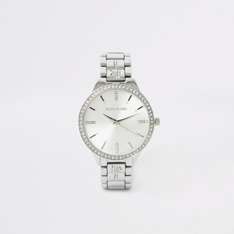 River Island Womens Silver colour diamante RI strap watch