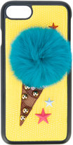 Dolce & Gabbana ice cream cone iPhone 7 cover - women - Calf Leather/Rabbit Fur/Plastic/Viscose - One Size