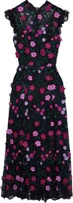 Lela Rose Floral-appliqued Embroidered Lace Midi Dress