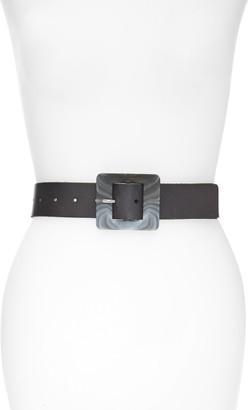 Halogen Marbled Buckle Leather Belt