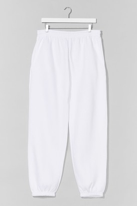Nasty Gal Womens Jog the Limelight Stretch Joggers - White - L
