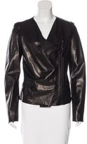 Barbara Bui Crochet-Trimmed Leather Jacket
