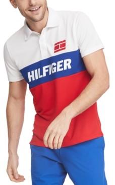 Tommy Hilfiger Men's Ezra Custom-Fit Colorblocked Logo Wicking Polo Shirt