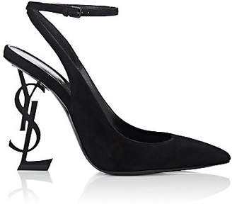 Saint Laurent Women's Opyum Suede Ankle-Wrap Pumps - Black