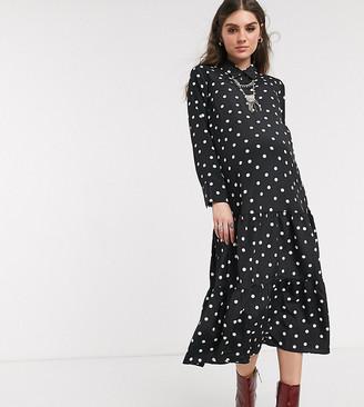 Topshop maternity midi shirt dress in black spot