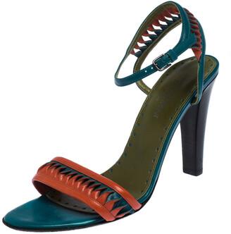 Saint Laurent Paris Multicolor Leather Twist Detail Ankle Strap Sandals Size 38.5