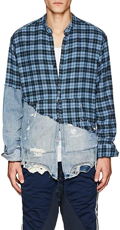 Greg Lauren Men's Plaid Flannel & Denim Studio Shirt