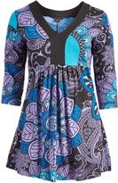Aller Simplement Blue & Violet Paisley V-Neck Empire-Waist Dress - Plus Too