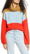 Woven Heart Chunky Colorblock Turtleneck Sweater