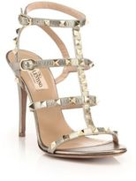 Valentino Rockstud Metallic Leather Gladiator Sandals