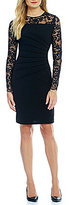 Ivanka Trump Lace Sleeve and Yoke Sunburst Pleated Scuba Crepe Knit Sheath Dress