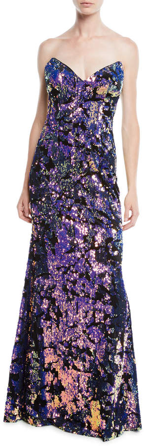 Jovani Strapless Gown w/ Allover Sequins