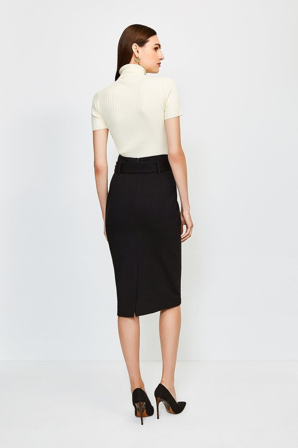 Thumbnail for your product : Karen Millen Ponte Belted Pencil Skirt