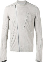 Rick Owens collarless biker jacket - men - Cotton/Leather/Cupro - 50