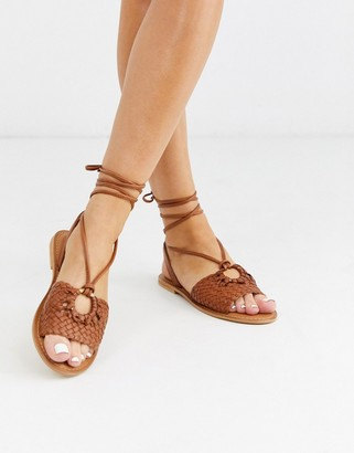 ASOS DESIGN Figtree woven leather tie leg sandal in tan