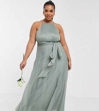ASOS DESIGN Curve Bridesmaid ruched pinny maxi dress with tie waist detail in olive