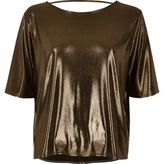 River Island Womens Bronze boxy strap back T-shirt