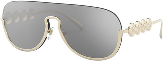 Versace Semi-Rimless Mirrored Shield Aviator Sunglasses