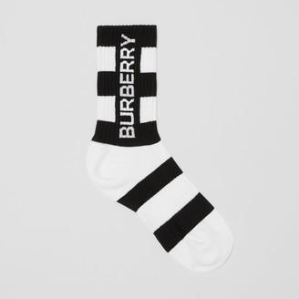 Burberry Logo Intarsia Striped Technical Stretch Cotton Socks