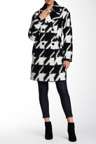 7 For All Mankind Houndstooth Virgin Wool Blend Long Peacoat