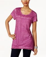 Style&Co. Style & Co Fringe-Hem Lace-Yoke Top, Only at Macy's