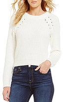 1 STATE Crew Neck Lace-Up Cropped Pullover Sweater