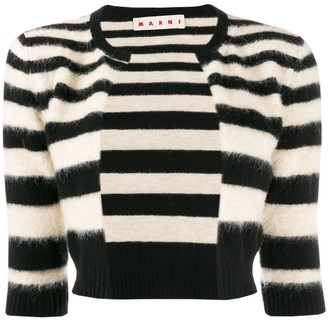 Marni Cropped Striped Cardigan