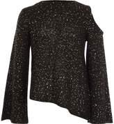 River Island Girls Black sequin cold shoulder jumper
