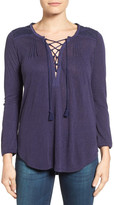 Lucky Brand Lace-Up Peasant Blouse
