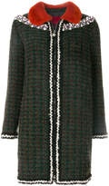 Moncler Gamme Rouge embroidered contrast collar coat