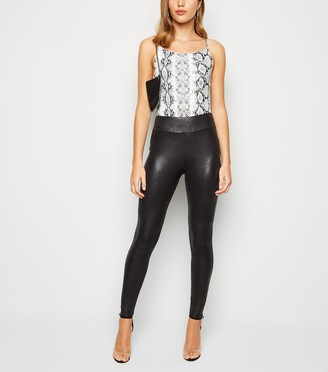 New Look Crackle Coated Leather-Look Leggings